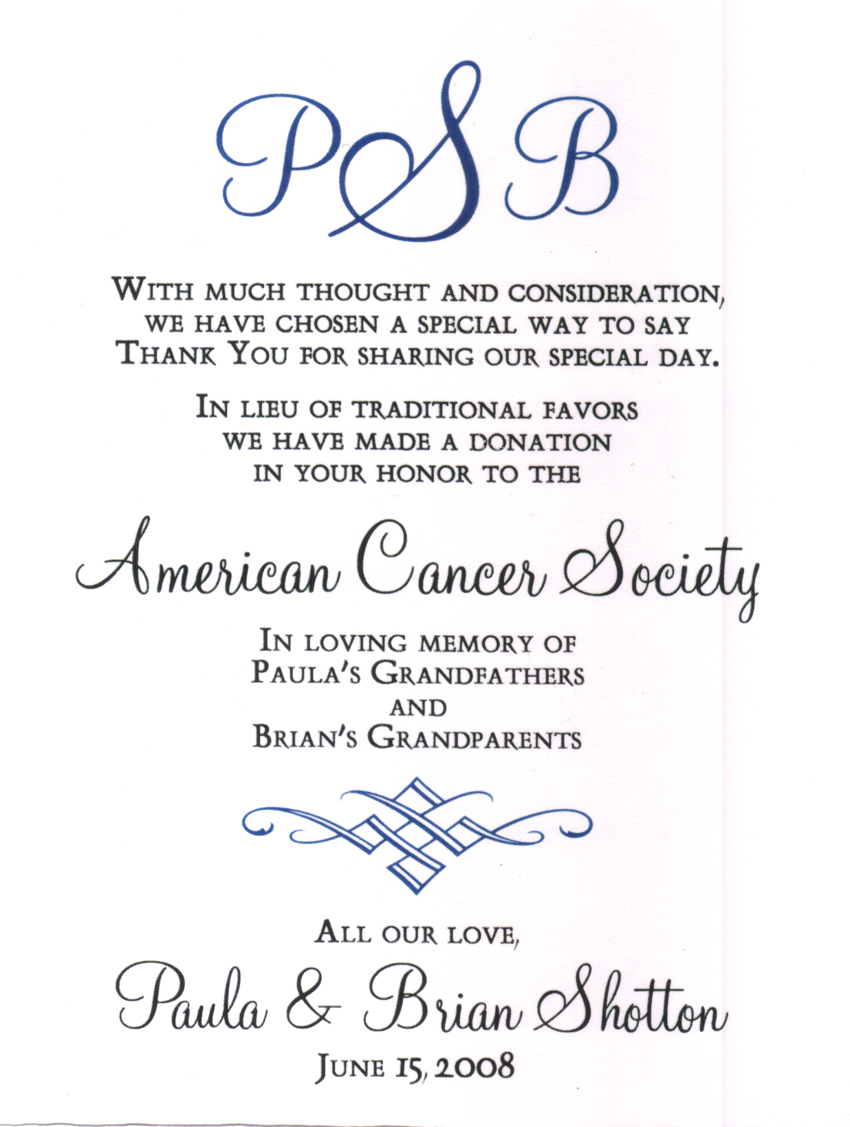 American Cancer Society Donation Card Something 2 Dance 2