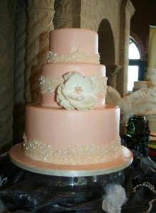 Pretty in Pink fondant and pearl wedding cake.