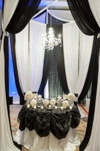 DBY Event Designer Kasey Larson created this table top display at our booth.  Brides loved it!