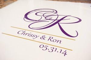 Close up of Custom White Dance Floor and Monogram