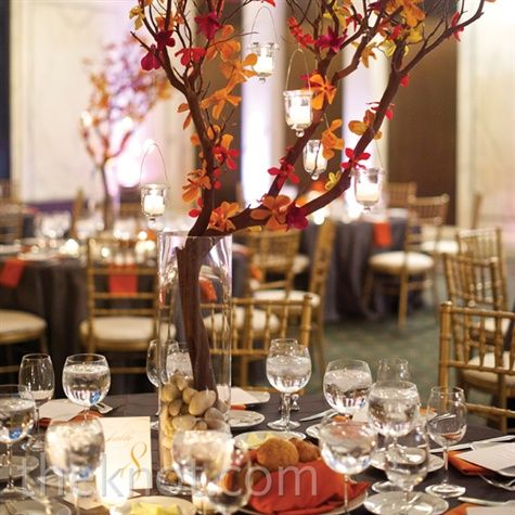 Love this centerpiece idea from Knot.com!  Rustic, elegant and highlighting fall.