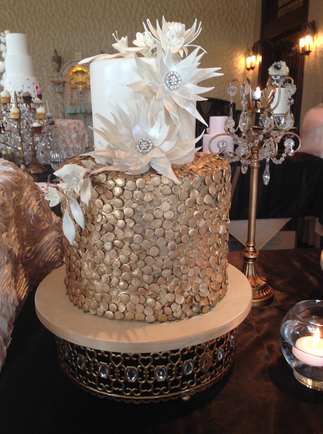 Metallic Hue Wedding Cake   Oak Mill Bakery
