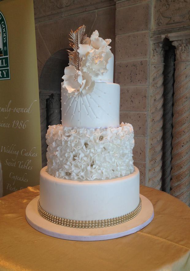 White & Gold Wedding Cake   Oak Mill Bakery