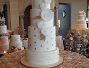 White & Gold Wedding Cake | Oak Mill Bakery