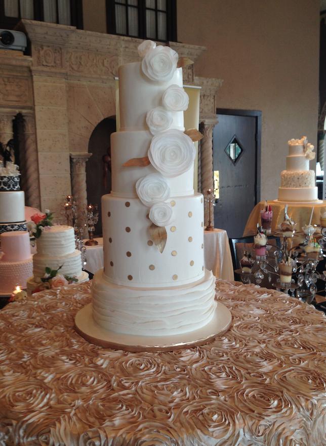 White & Gold Wedding Cake | Oak Mill Bakery
