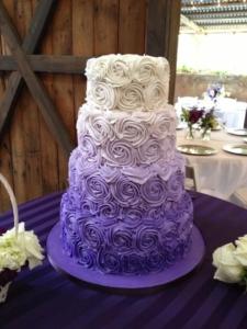 Purple and black wedding cakes