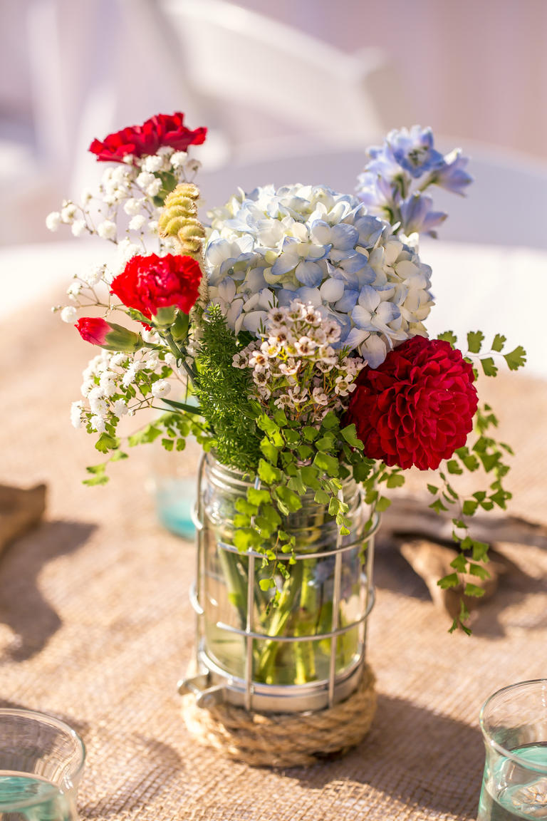 Red white and blue centerpieces something dance