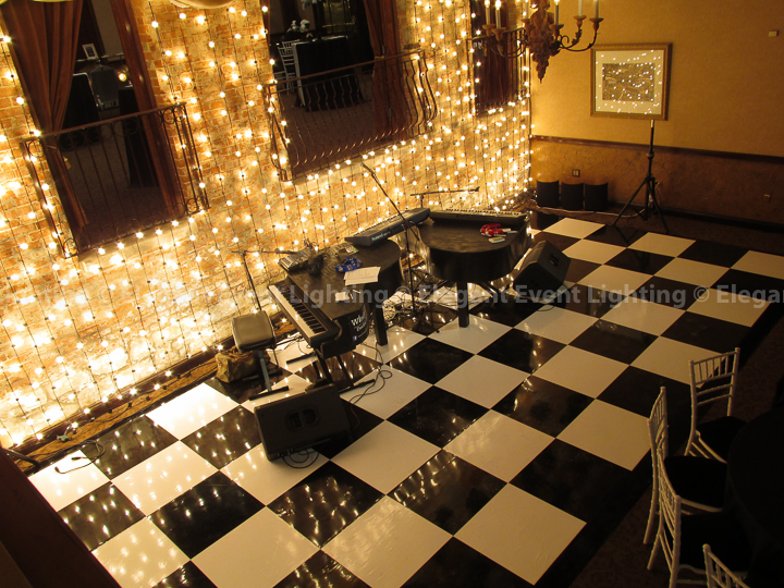 Black & White Wedding Dance Floor | Elegant Event Lighting