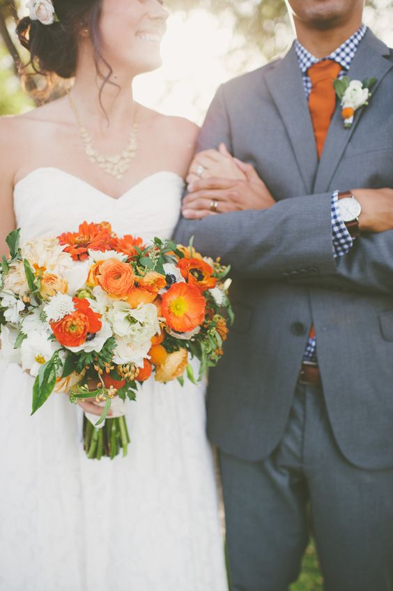 Orange Bride and Groom