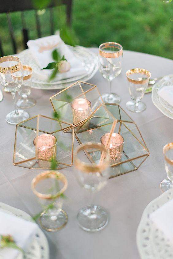 Rose gold table decor something dance